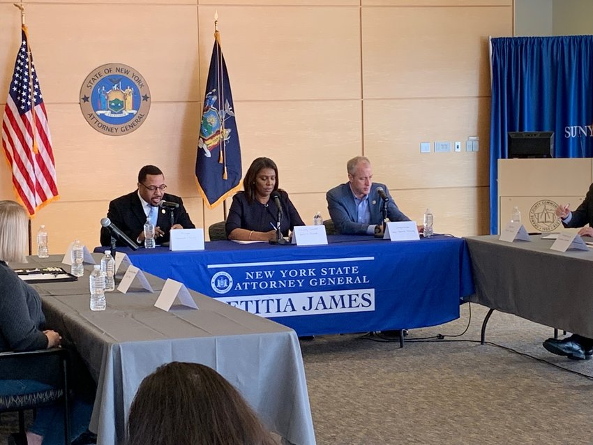 New York State Attorney General Letitia James visited Newburgh on April 6 to discuss the state's lawsuits against drug companies responsible for the opioid crisis. She is flanked by Mayor Torrance Harvey (l) and Congressman Sean Patrick Maloney.