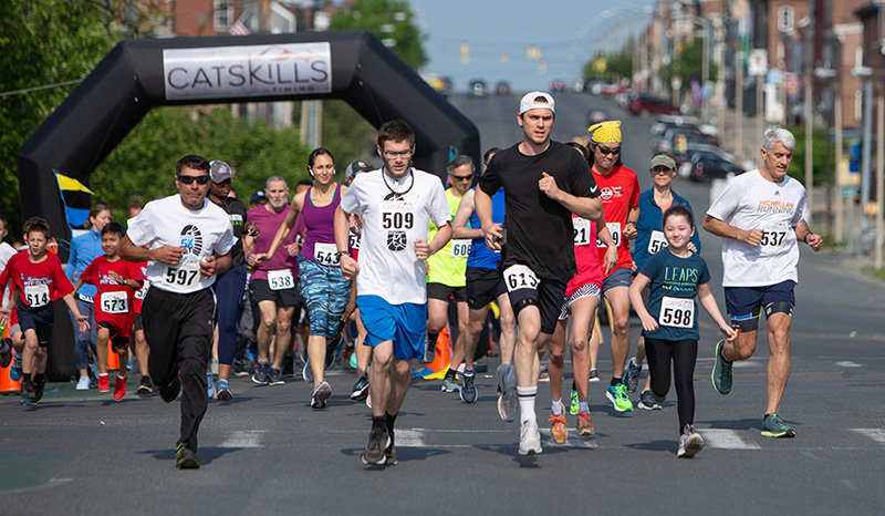 A field of 87 runners took off on lower Broadway, Sunday morning, for the annual Off Broadway 5K to benefit Safe Harbors. Official results are available at catskilltiming.com.