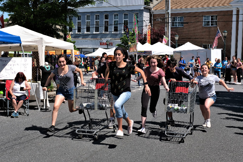 A shopping cart race is always an exciting event at Springfest.