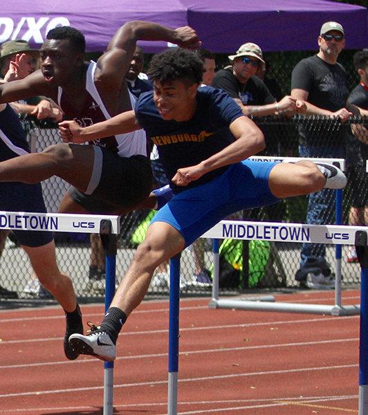 Ryler Gould won the 110-meter hurdles, 400-meter hurdles, 400-meter dash and ran on Newburgh's winning 400-meter relay team during the Section 9, Class A championships last week.