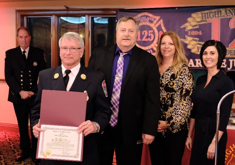 Chief Peter Miller received  a  Pride Of Ulster County Award from Legislators Herb Litts, Mary Beth Maio and Heidi Haynes for his 45 years of service to the Highland Community.