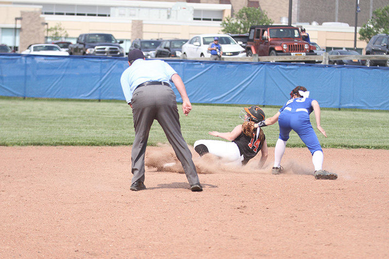 Carly Correa makes it to second base in the first inning.