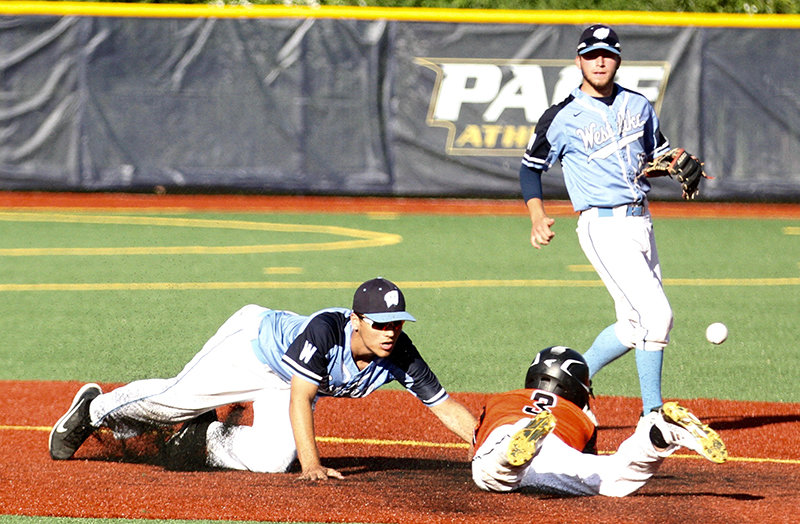 Eric Grzechowski steals second base for the Dukes against Westlake.
