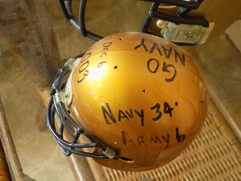 A football helmet from the 2003 Army-Navy game, from Paul Rader's personal collection, is part of Saturday's auction to benefit Rolling Thunder.