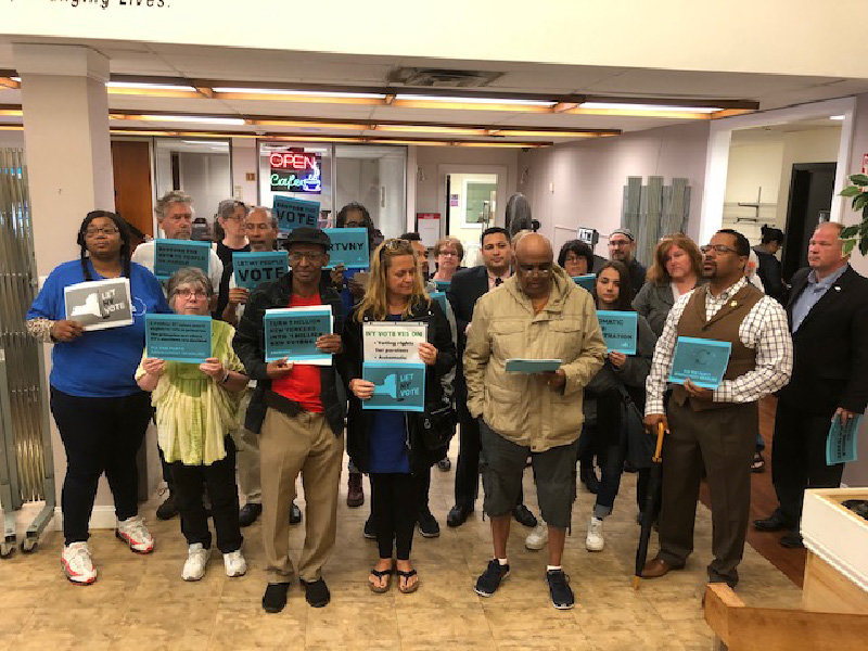 Activist groups from the Hudson Valley held a press conference at the Fresh Start Café in the City of Newburgh on Thursday, June 13 to rally for the restoration of voting rights to parolees.