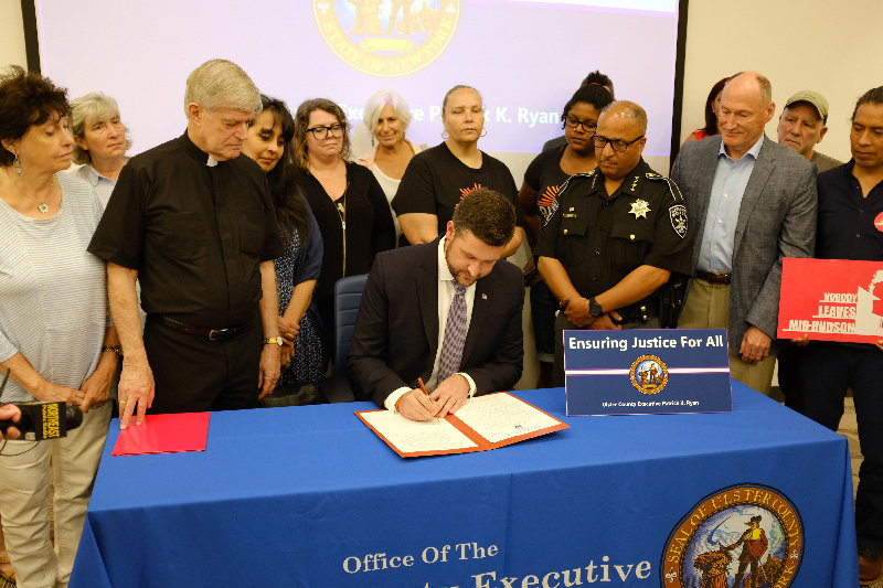 Ulster County Executive Pat Ryan signs an Order directing county employees not to comply with administration warrants that do not have a judge's signature.