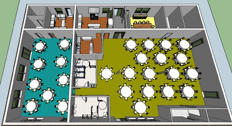 A 3D view of a floor layout of a renovated TOMVAC building.