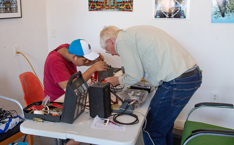 Volunteers at a repair cafe in Newburgh.