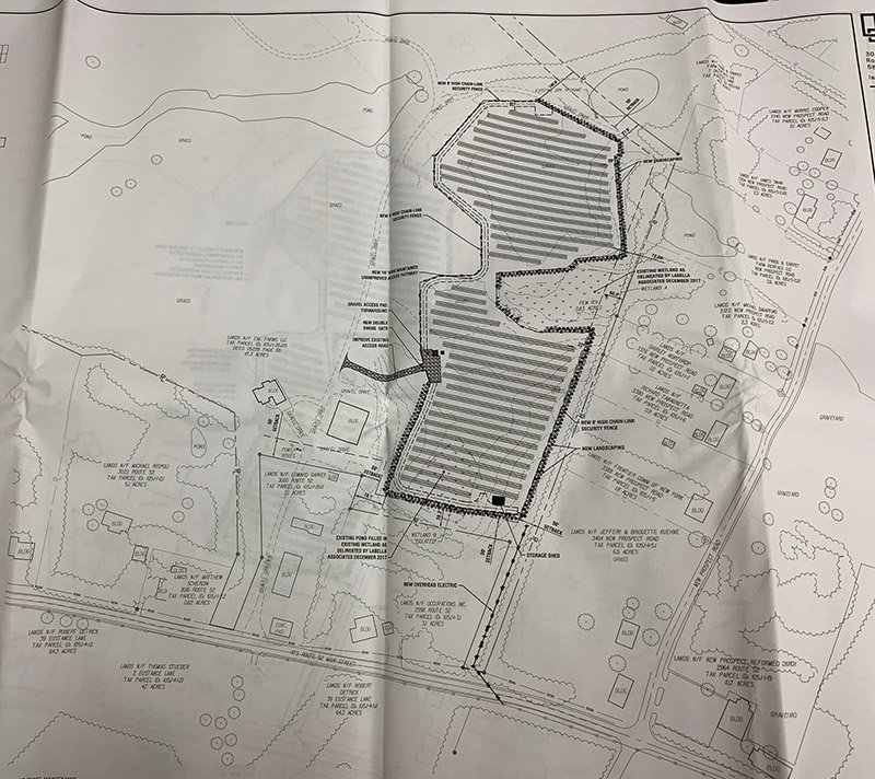 The site plan for NY-Solar 1000, LLC, a 2.5-mgawatt community solar project proposed in Shawangunk.