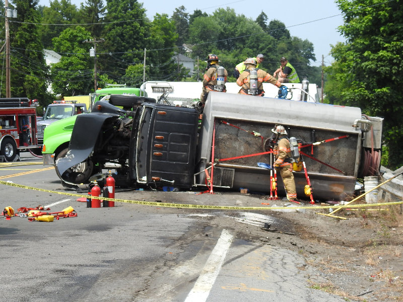 Firefighters responded to a motor vehicle accident last Wednesday on Route 9W in Milton.