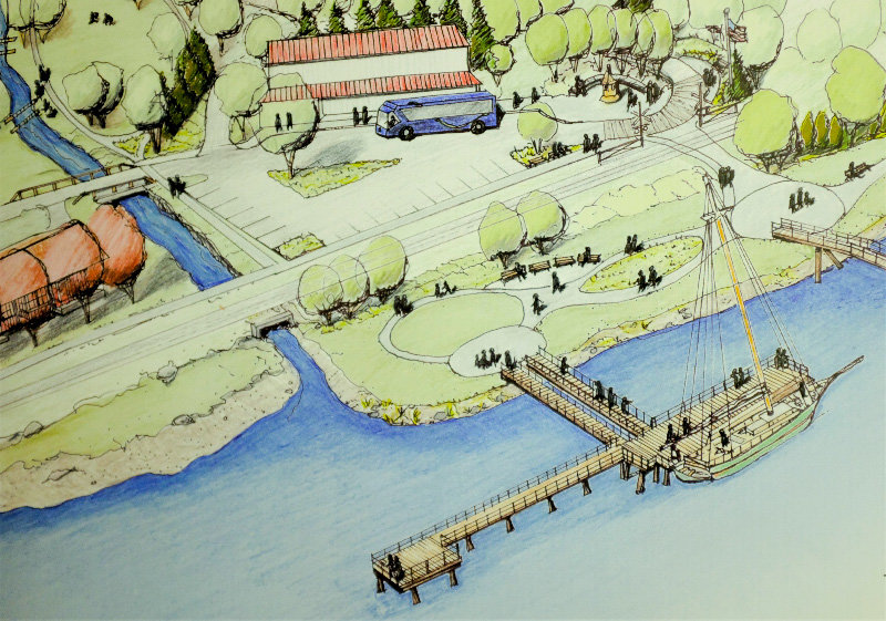 An architectural rendering of a reconstructed southern Milton Pier.