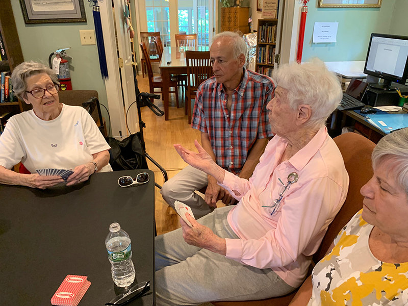 Seniors gather at the Pine Bush Library for the weekly Bridge Club. Photo by Laura Fitzgerald.