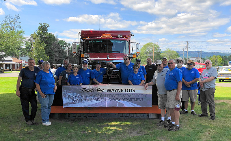 The Gardiner Town Highway Department and members of the Mid-Hudson chapter of the Antique Truck Club of America (ATCA) paid tribute to Wayne Otis, a long-time member of both organizations, at the Mid-Hudson Antique Truck Show last Sunday. Photo provided.