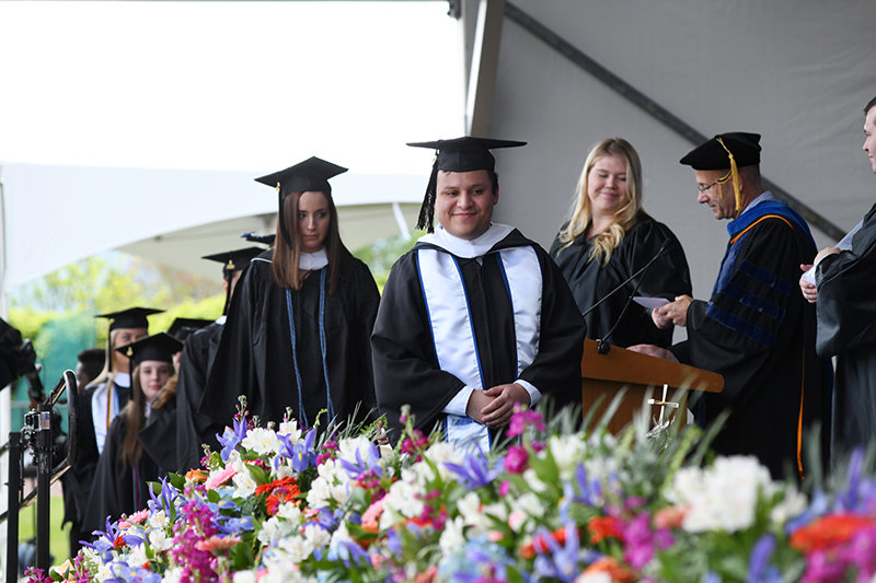 Alberto Gilman of New Windsor, was a familiar face at Mount Saint Mary College's Campus Ministry. He graduated on Saturday, May 18