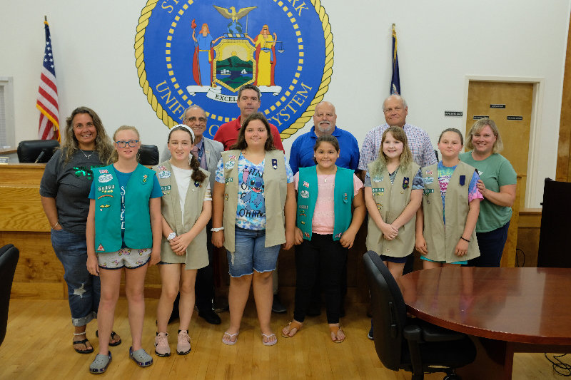 A group of Marlborough Cadette Scouts received the town's support to build a Kindness Rock Garden at the town park. Pictured in front row: Cindy Rifkin (leader of troop 60363) Paige Brooks, Emma Stoebling, Abigail Rifkin, Amelia Doddo, Janice Werba, Emily Hite and Krissy Werba (leader of troop 60016). In back row: Supervisor Al Lanzetta and Councilmen Allan Koenig, Ed Molinelli and Howard Baker.