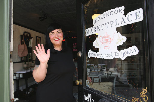 Photo by Jessica Dobson Photography. Owner Heatherlyn Nelson in her home décor store Inglenook Marketplace, which recently opened in Pine Bush.