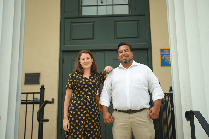 Orange County Historian Johanna Yaun and Sergio Villavicencio, chair of the New York City Semiquincentennial committee at the planning meeting that was held at the 1841 Courthouse in Goshen last week.
