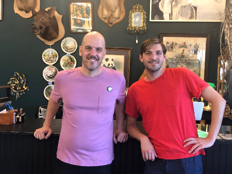 Anthony Vesnaver(l) and Matt Smith at the original location of Newburgh Vintage Emporium.