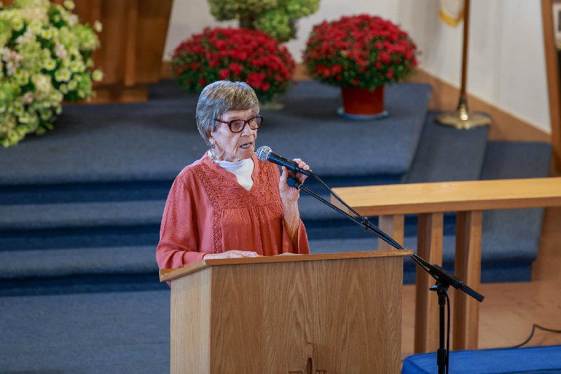 Ruth McMahon spoke of the early days of the church.