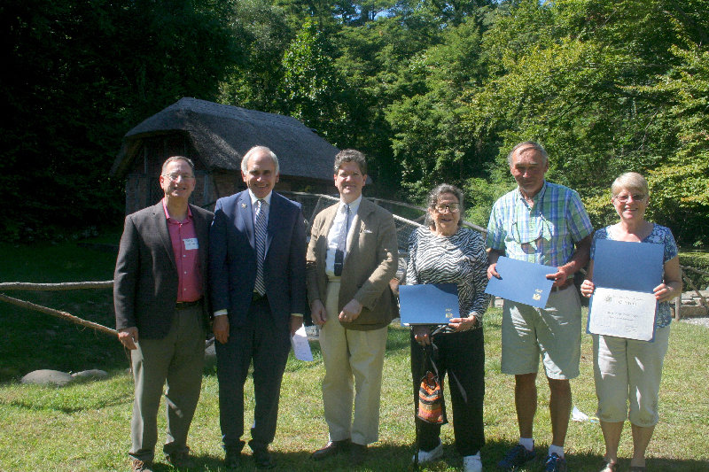 New York State Assembly Member Jonathan Jacobson (second to left) bestowed the 2019 Gomez Mill House Honoree Awards to (from the right of Jacobson) Luke Ives Pontifell, Mildred Starin, Steve Clarke and the representative of Meet Me in Marlborough Judy Clarke.
