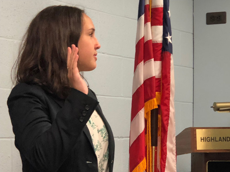 Student Representative Isabella Fiorese, a senior at Highland High School is sworn in to serve on the Highland Board of Education.