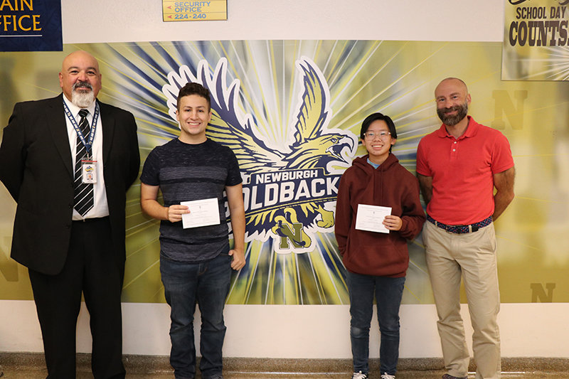 Left to right: Mr. Raul Rodriguez, principal of NFA Main Campus, Commended Student recipients Esteban Speedling and Kathryn Tam, and school counselor Mr. Tom Hill.