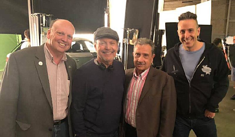 Billy Crystal (center) on set at Umbra Stages with Town of Newburgh Supervisor Gil Piaquadio (right) along with Deputy Supervisor Scott Manley (left) and Managing Partner at Umbra Stages' Tony Glazer.