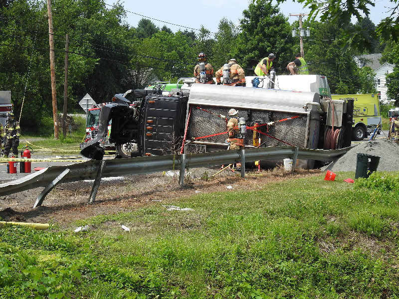 On July 10, 2019 a fuel truck overturned on route 9W and was quickly contained by the efforts of the Marlborough Police, Fire and Highway departments.