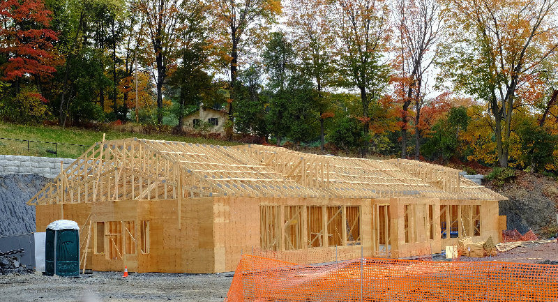 Work has resumed on the gas station, convenience and Dunkin' Donuts store on Route 9W, just north of the Marlboro hamlet.