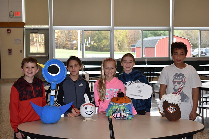 Berea Elementary School recently celebrated its annual pumpkin decorating contest for fifth grade students.  The pumpkins were admired on the stage by all students and staff.  They were creative and well done.  The entire student body voted for their favorite entry.   After tallying all the votes, the winners were as follows: 1st Place: VSCO Pumpkin by Samantha Thompson and Samantha Messing. 2nd Place: Pigeon by Dan Joyce and Forkie by Jude Migliore. 3rd Place: Root Beer Float by Nicholas Blaggrove.