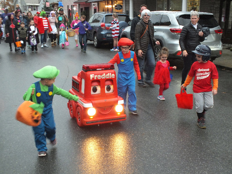 """Freddie"" the firetruck led this year's annual Halloween Parade in the Hamlet of Milton."