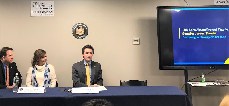 (From left to right), Jeffrey Dion, Joelle Casteix, and Sen. James Skoufis speak on the Child Victims Act.
