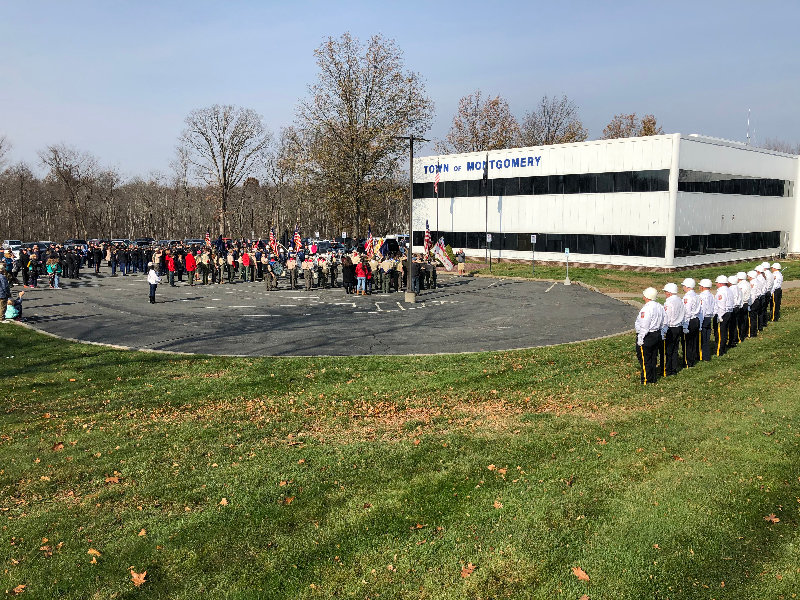 Scouts, service members and Veterans stood at attention for the Town of Montgomery Veteran's Day ceremony.