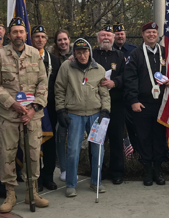 Some of the veterans who came to the Veterans Day Ceremony. From left to right: Tony Scaringi, Jim Stittz, Fiona Kirnan, John Manning, Bill Kirnan, Mike Pajonk and Steve Nicoli.