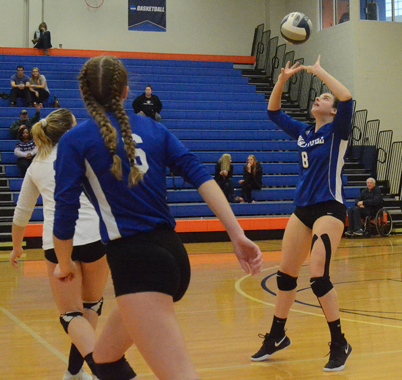 Wallkill's Madison Dembroski sets up teammates Angela Mayer and Julia Barnett during Sunday's Section 9 Class A championship match at SUNY New Paltz.