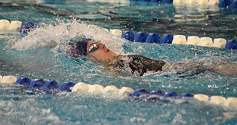 Pine Bush's Mackenzie Gula swims the backstroke leg of the 200-yard individual medley during Thursday's Section 9 preliminaries at Valley Central High School in Montgomery.
