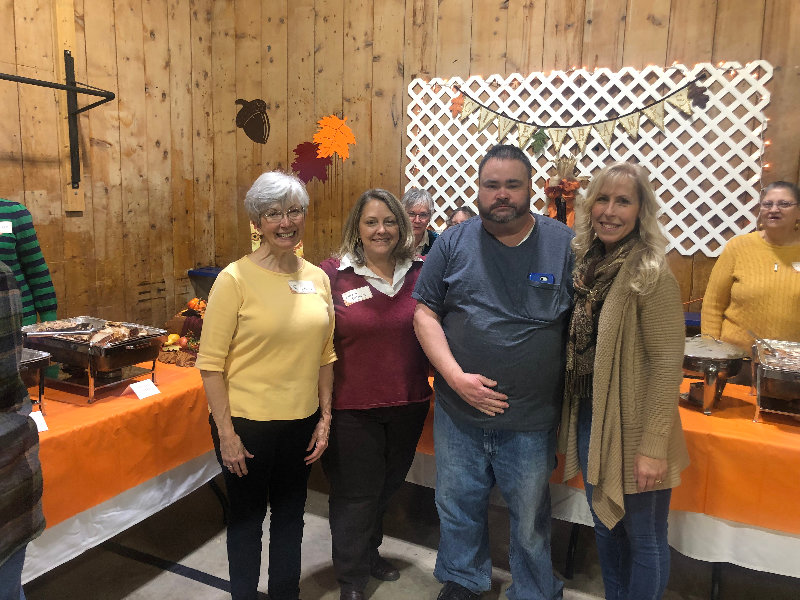 Volunteers (l – r)  Norma Marcantonio, Lucia O'Dowd Martin King and Kathy Baker at Saturday's free Thanksgiving meal at Leptondale Bible Church.