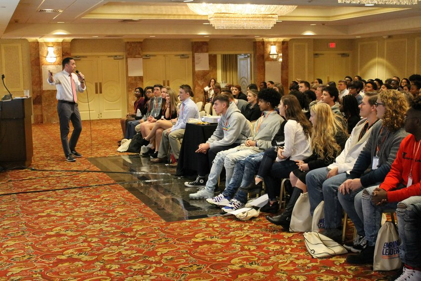 Andrew Marotta, Port Jervis High School Principal, gives the keynote presentation to about 145 students from schools throughout Orange County on November 20.