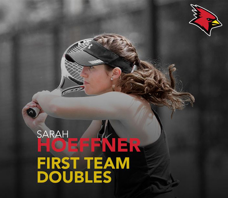 Sarah Hoeffner is a 2018 Valley Central graduate and former tennis player from Valley Central High School. She was recently named First Team Doubles ALL-SUNYAC in her Sophomore Year at Plattsburgh State. Sarah also plays singles and held the team record for most singles matches won this season. She is a Nursing Major and is on the Dean's List at SUNY Plattsburgh. Sarah was also named to the SUNYAC Commissioner's Honor Roll for Student Athletes.