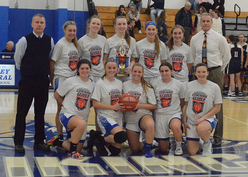 The Valley Central girls' basketball team after defeating Burke Catholic, 56-24, in the championship game of the Corinne Feller Memorial Tournament on Saturday.