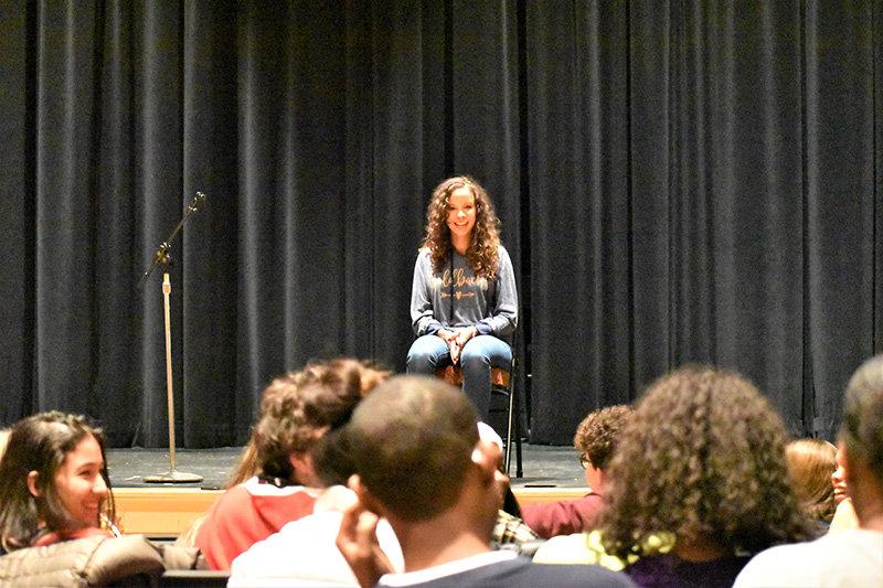Broadway star Lexi Lawson addresses NFA students.