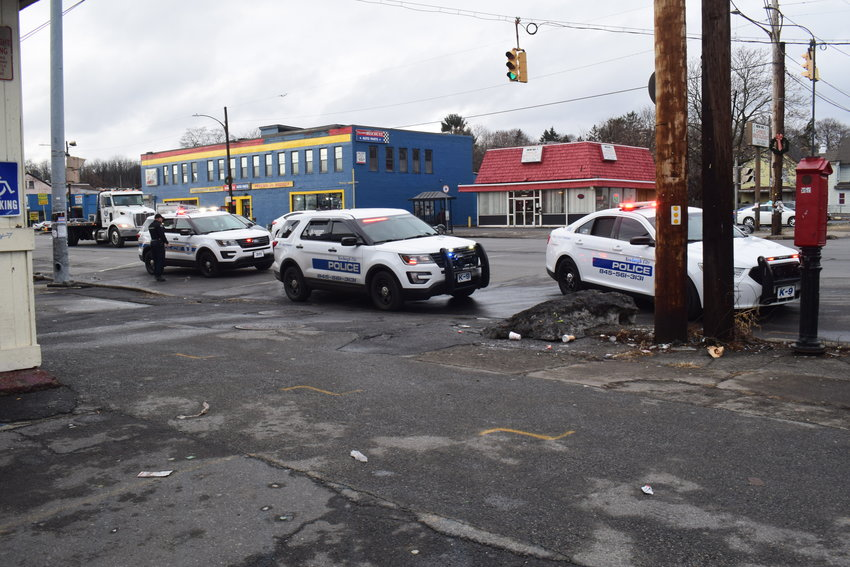 Police outside 411 Broadway on Tuesday afternoon, after a reported stabbing.