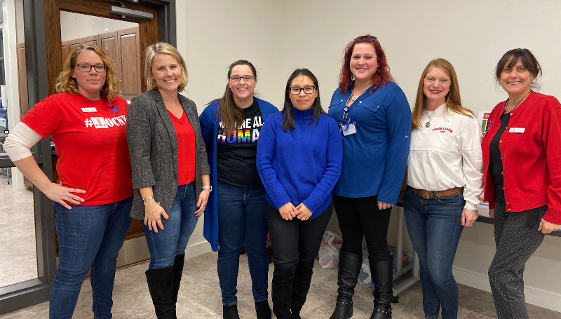 Junior League and Fearless! Volunteers at the Human Trafficking Awareness program held at the Goshen Public Library  Left to right: Rachel Losee, Lauren Rowley, Alyssa Picard, Diana Velez, Caryn Steffens, Barbara DeStafeno, Trish Chelsen. Not pictured: Pam O'Dea.