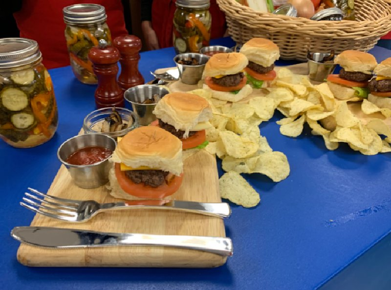 The cheeseburgers and pickled vegetables made by the Valley Central Middle School Culinary Club.