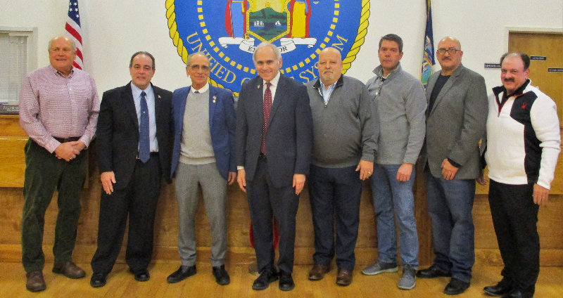 The Town of Marlborough swore in their town officials on January 9. Pictured L-R Councilmen Howard Baker and Scott Corcoran, Supervisor AL Lanzetta, Assemblyman Jonathan Jacobson, Councilmen Ed Molinelli and Alan Koenig, Highway Superintendent John Alonge and County Legislator/Town Building Inspector Tom Corcoran.