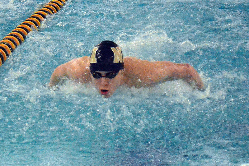 Newburgh's Ethan Domanico swims the 200-yard individual medley at Thursday's OCIAA swim meet at Pine Bush High School.