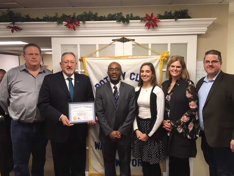Five New members were inducted recently bringing membership to 40. They are pictured with the Rotary president. l to r: Bill Cronin, Cronin & Company Real Estate;  Bill Dauster, ORMC Foundation;  Orande Daring, Orange-Ulster BOCES;  Darrigan DeMattos, ORMC Foundation;  Kelly Bassett Buono, self employed pyschoanalyst;  and Matt Gibbs, Wallkill East Rotary club president. The Wallkill East Roary meets every Tuesday morning at D'Lux Diner, 14 Crystal Run Crossing Middletown.