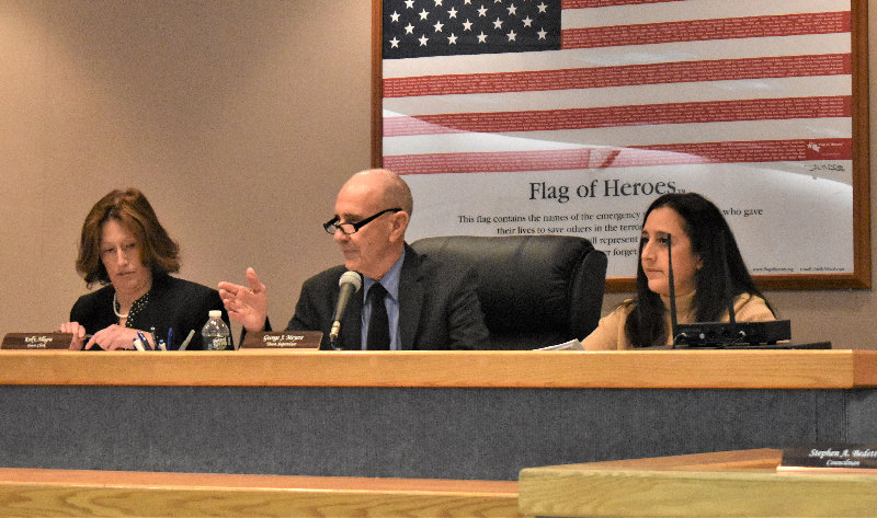 Supervisor George Meyers addresses residents during last Wednesday's town board meeting.