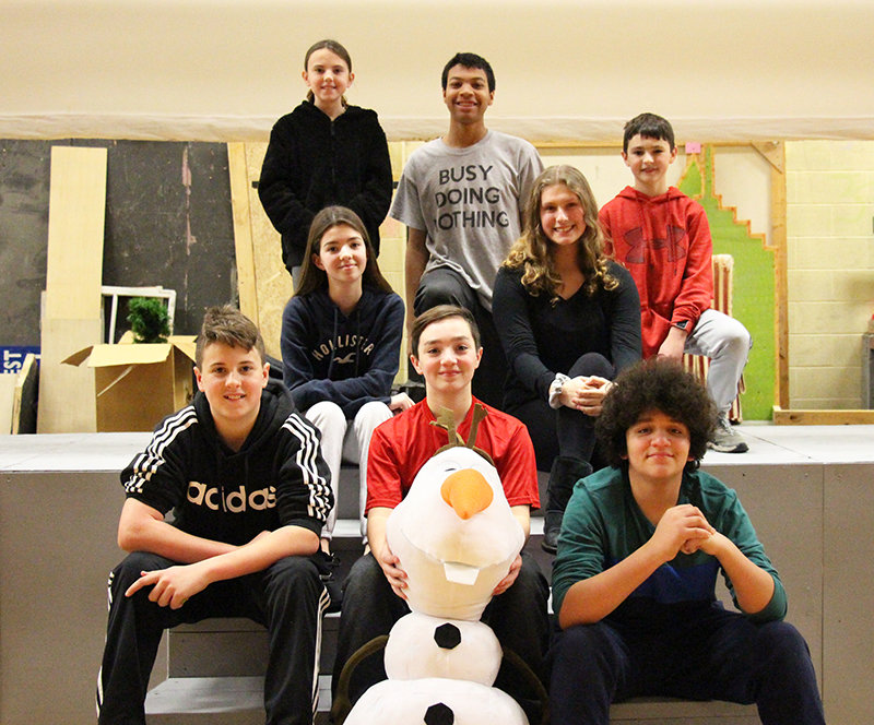 The stars of Crispell's Frozen Jr. Front row from left: Travis Coleman as Hans, Dominick Ciarelli as Olaf, Matthew Lopez as Cristoff; Center, Lily Deckaj as Anna and Grace Salsbury as Elsa; Top: Grace Coleman as Little Anna, Chase Dodson as Sven and Thomas Pizzulli as the Duke of Weselton.