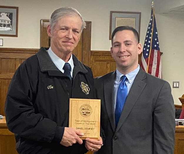 Tim Dempsey (left), the Town of Montgomery Citizen of the Month for February, poses with Town Supervisor Brian Maher (right).